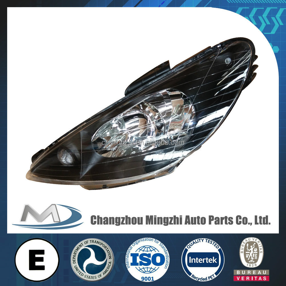 Auto parts head light crystal black for Peugeot 206 R087276 L087275