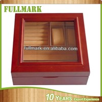 Two tone customized wooden watch box with velvet