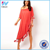 2016 Dongguan Yihao summer fashion dress one shoulder fringe kaftan beach bohemian dresses for women
