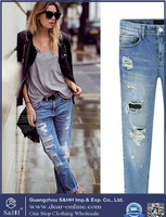 2016 new fashion stretch lady denim knee-length jeans women wholesale girls jeans