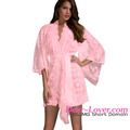 Hot Selling Women Valentine Pink Belted Lace Kimono Sexy Lingerie Sleepwear