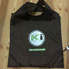 Custom Printed Promotional waterproof foldable nylon drawstring plastic tote shopping bag