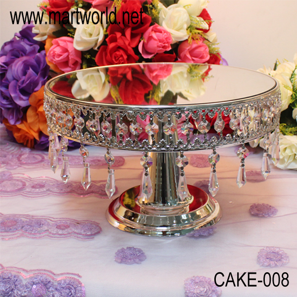 2017 Hot sale Hanging Crystals Cake Stand with LED light for wedding/ home/party decoration(CAKE-008)