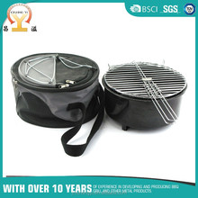 2 in 1 round travel steel charcoal bbq grill bucket with storage pocket