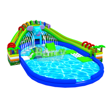 China inflation water slide park games crazy water games,industrial elephant inflatable water park on land