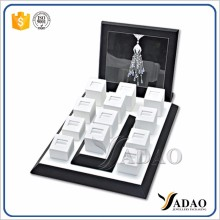 Wholesale China factory of white leather jewelry exhibitors with custom logo ring jewellery tray display