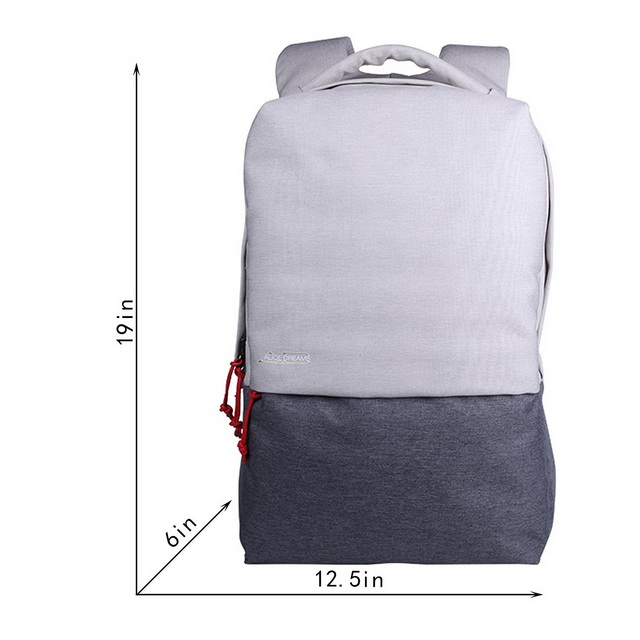 Canvas laptop backpack with usb charger port waterproof school college bag for wholesale
