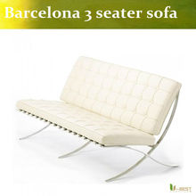 White 3 Seater Barcelona Leather Sofa