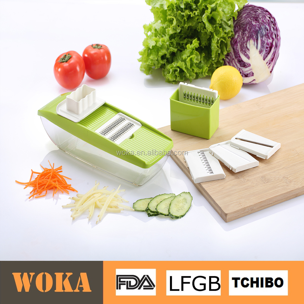 kitchen gadget multi blades exchangable fruit carrot/cucumber vegetable grater slicer cutter with container