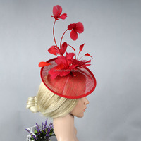 New Arrival British Style Red Sinamay Base With Feather Hair Fascinator Wholesale