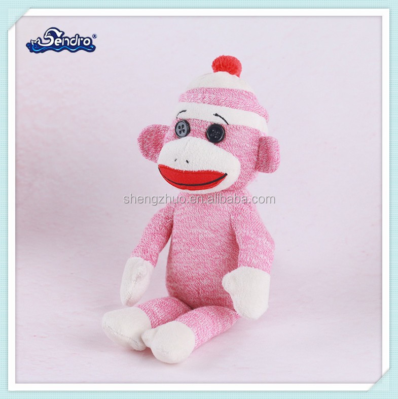 velvet fabric pink kids toy plush soft stitting monkey animal toys