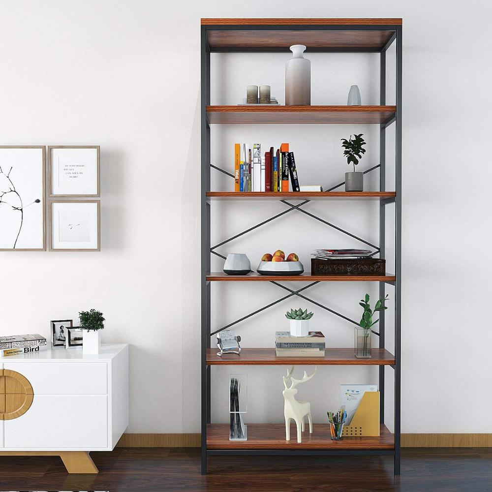 5 Shelf Bookcase, Bookshelf Industrial Style Metal and Wood Bookshelves Free Vintage Standing Storage Shelf Units