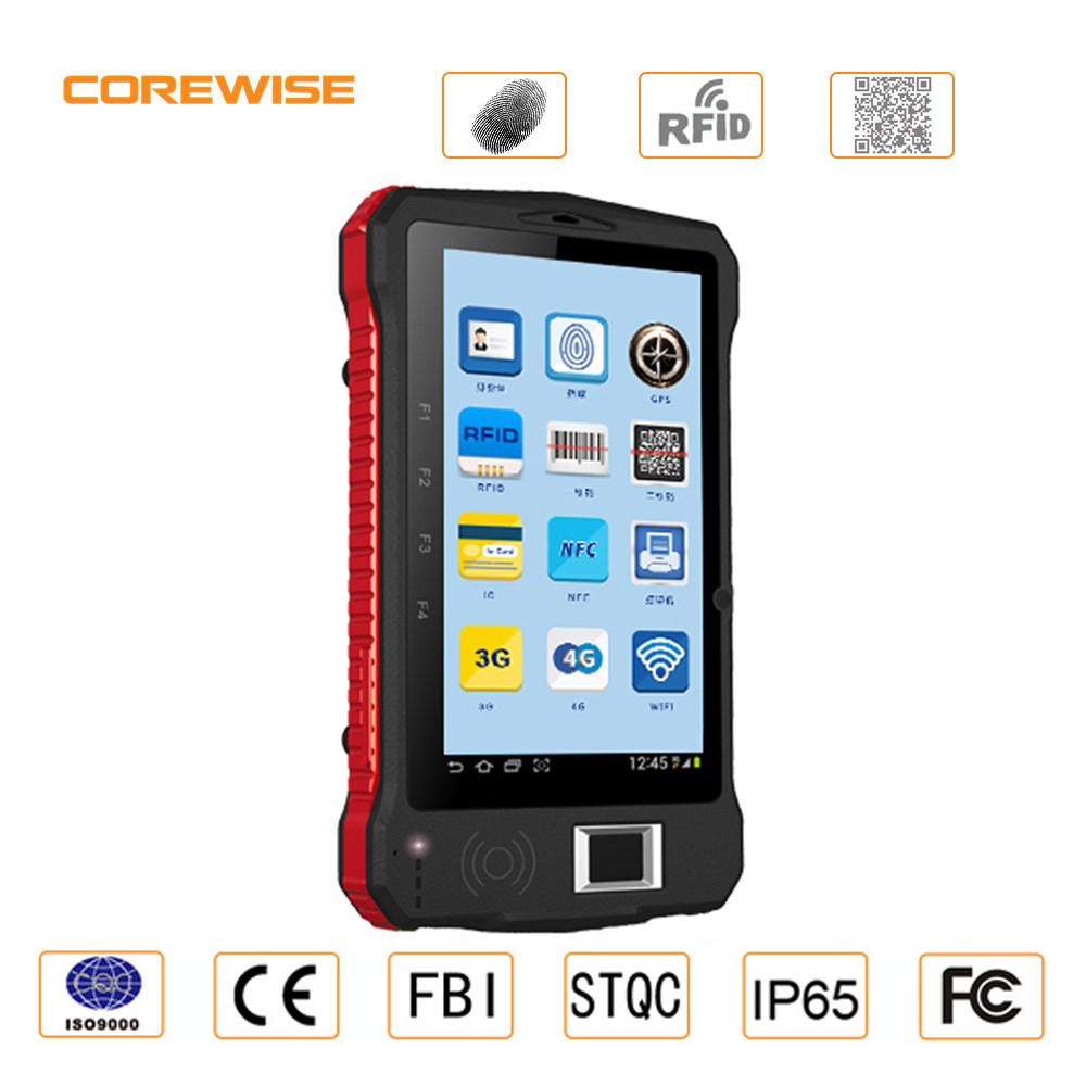 Rugged mobile device android tablet with fingerprint for hotel security management
