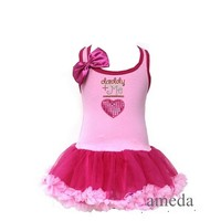 Rhinestone Daddy+Me Heart Light Hot Pink Pettiskirt Party Dress
