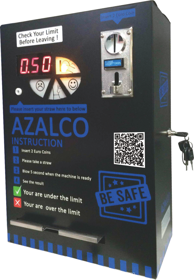 Professional coin operated alcohol tester/breathalyzer machine for bar /restaurant /hotel
