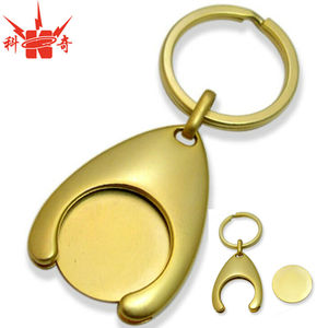 Promotional Metal Wishbone Trolley Coin Key Chain with Gold Blank Coin Token