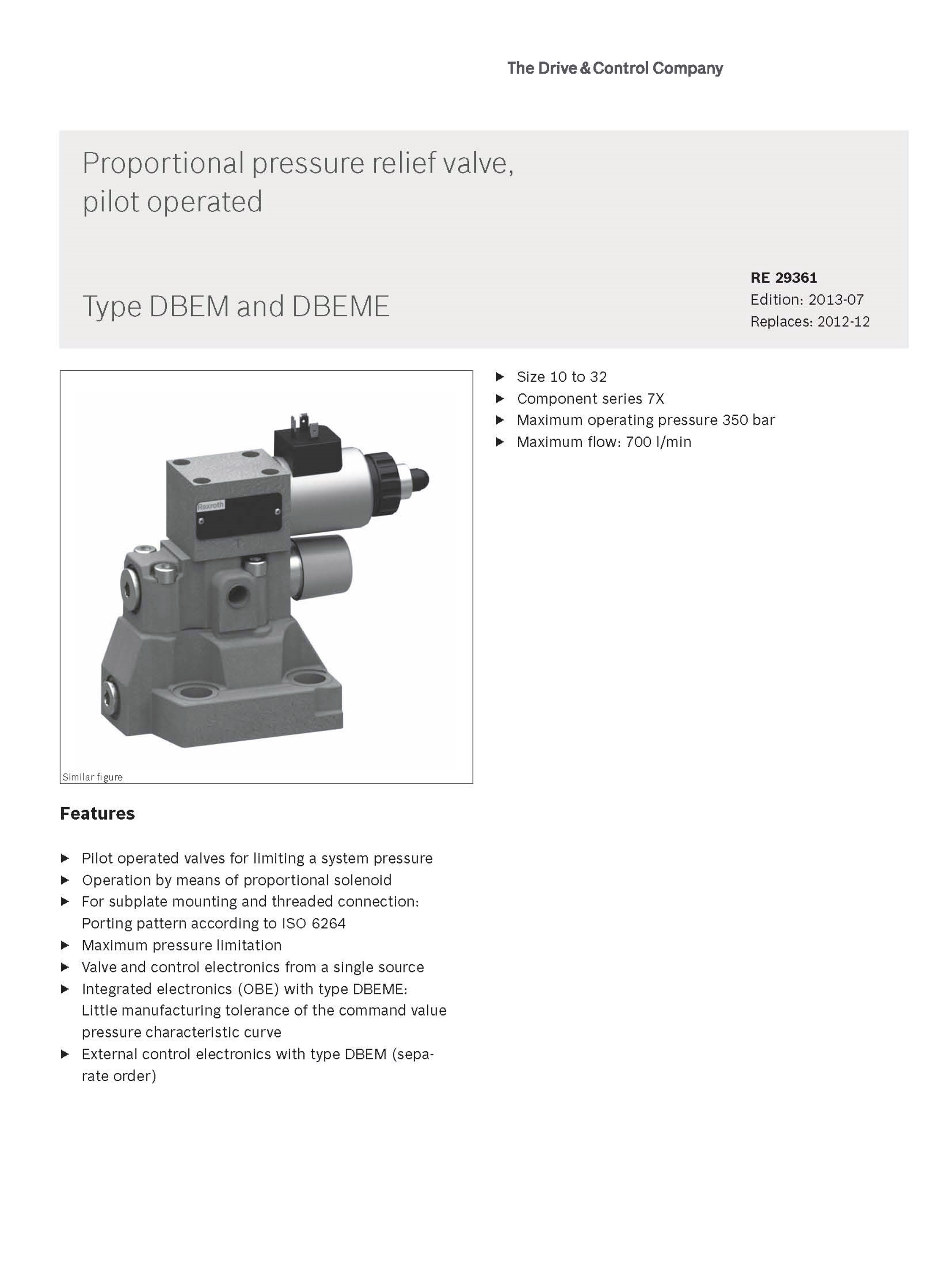 Rexroth DBEM and DREM of DBEM10,DREM10,DBEM20,DREM20 hydraulic proportional relief valve