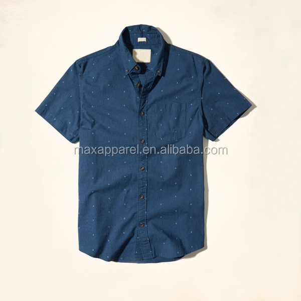 2017 new summer cotton spandex stretch fabric all over print pattern slim fit short sleeve poplin shirt for men