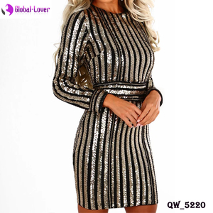 2018 women designer one piece long sleeve sequins party dress