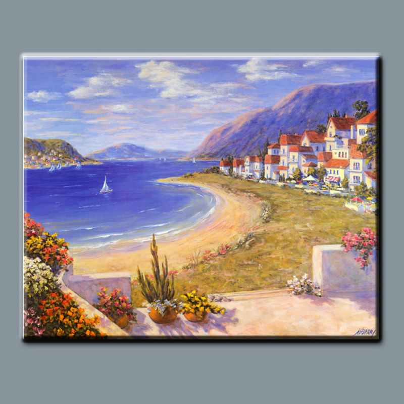 BC13-9064 Hand painted mediterranean landscape painting
