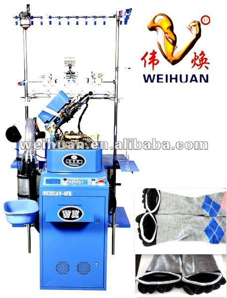 WH-6F-A4 advanced computerized hosiery machine for knitting one-time molding five-toes socks(3.5 inch)
