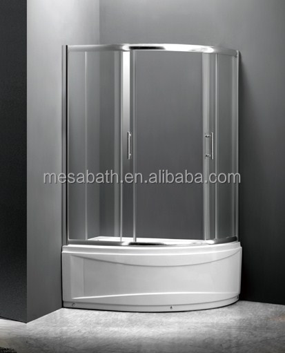 2017 New portable retractable shower door screen with sliding curved glass