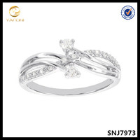 Top Selling YFN Sterling Silver Twist Shaped Heart White Stone Ring Wholesale Jewelry
