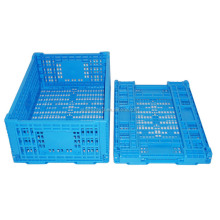 China supplier square heavy duty foldable blue outdoor collapsible folding plastic crate for sale