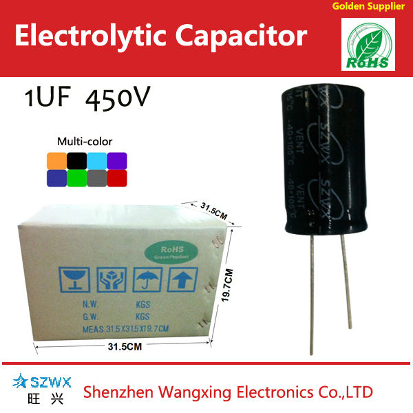 Low LC 1MFD/450VDC 1uf 450v 8*11mm 105C 2000Hours aluminum electrolytic capacitors