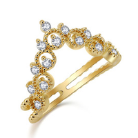 hollow gold AAA CZ ring, bridal princess ring