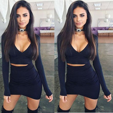 Z92187A Sexy Women Bodycon Dress Sexy Deep V-neck Night Club Wear 2PCS Women Dress