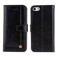 Premium Real Genuine Leather Wallet Flip Phone Case For iPhone 5