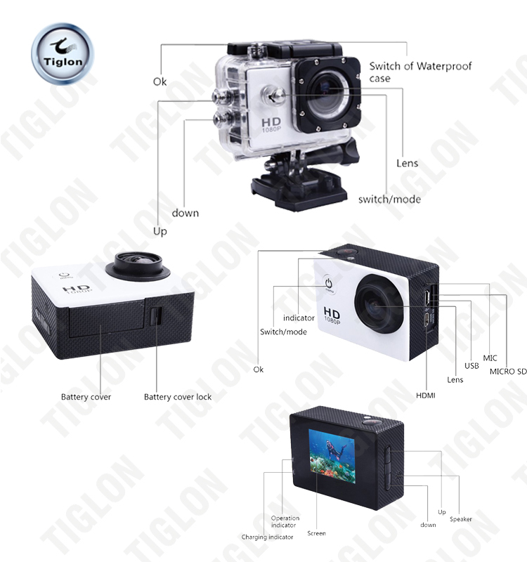 waterproof full HD 1080P action support WIFI and remote control