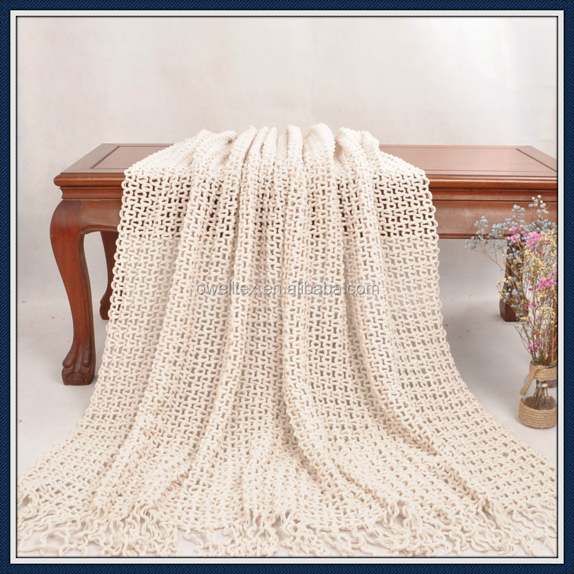 Ivory crochet knitting bed throw