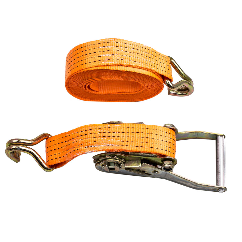 50mm BS 5T 6M 8M 9M 10M 12M j hook each end orange color plastic handle TUV/GS ratchet lashing strap