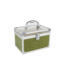New selling green/pink colors for option portable cosmetic case aluminum makeup kit box