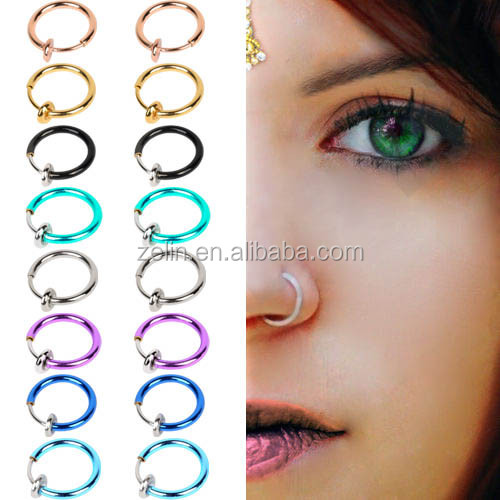 Hot Fake Spring Action Non Piercing Septum Clicker Ear Cartilage Jewelry