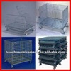 50*50mm folding collapsible stackable warehouse using mesh cages with 4 castors
