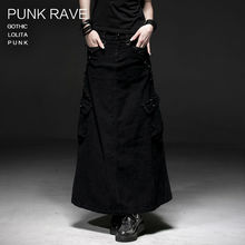 Q-224 Gothic black cotton 100% long skirt