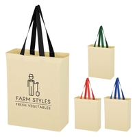 Custom silk screen printing natural 5 oz. cotton canvas grocery tote bag