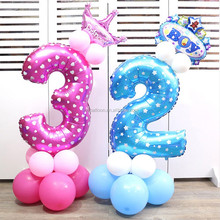 32 inch birthday party decorations printed big blue helium foil number balloons