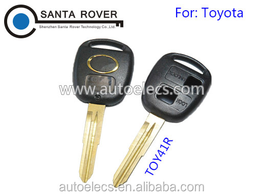 For Toyota Corolla Camry Prado RAV4 Remote Key Case Shell Black 2 Button Toy41r Blade With Logo