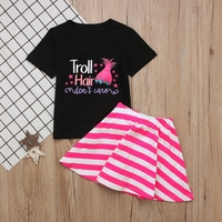 2018 NEW fashion Toddler Kids Baby Girl Cartoon Tee Tops T Shirt and Dress Skirt Clothes Outfits Set summer lovely cute