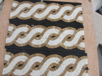 Handmade decorative stone / marble mosaic flower pattern border designs, free mosaic tile pattern