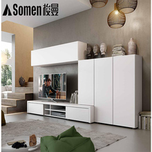 2018 fashion modern design wooden led tv cabinet with showcase