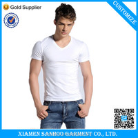OEM Service Cotton V Neck White T-Shirts Wholesale Mens Blank Tshirt Slim Fit Cheap From China Manufacturer