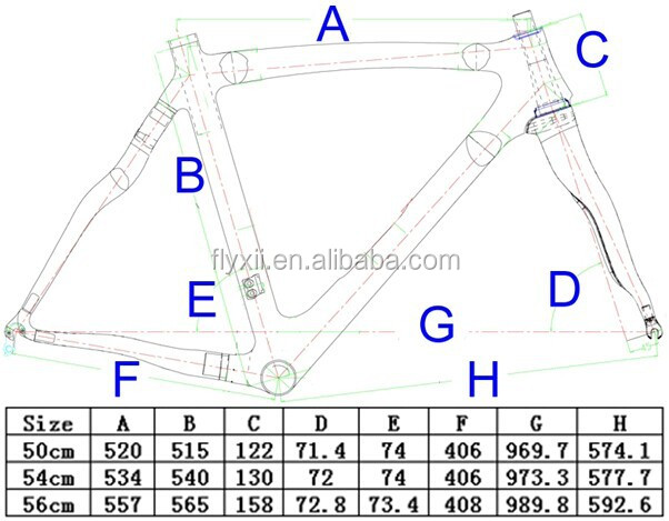 FLX-FR-308 : Carbon Cycling Matt Road Bike Frame Fork Seatpost Clamp Headset : 50cm, 54cm, 56cm