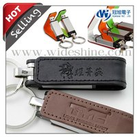 Premium Leather USB flash Memory Key for custom keychain with logo