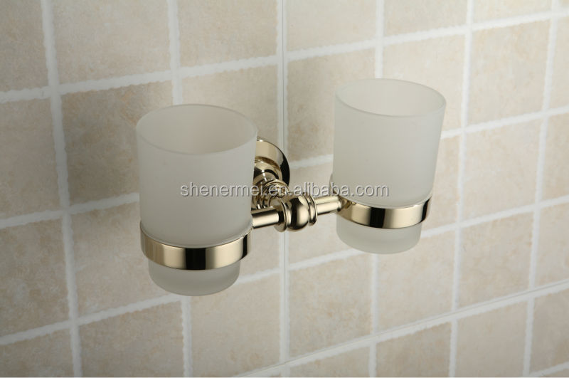2014 Paris Design Glass One Cup Golden Tumbler Holder for Bathroom Collections
