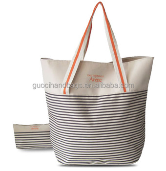 2016 Cheap Promotional Stripe Tote Bag Beach Bag